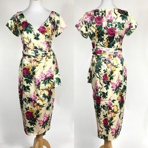 New Pinup Couture Ava Floral Satin Dress